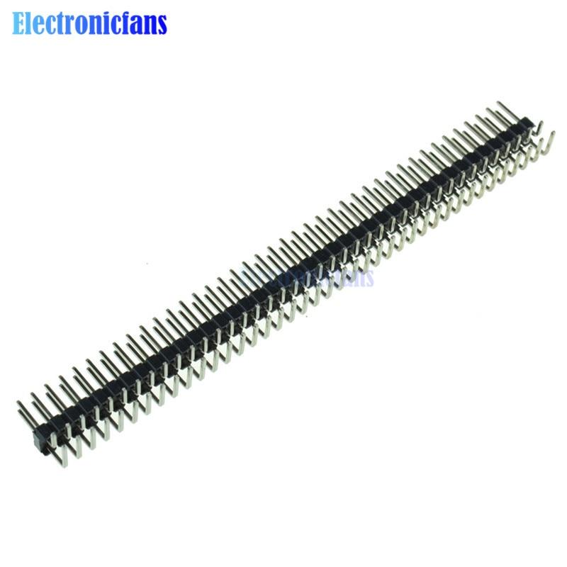 50PCS 2.54mm 2 x 40 Pin Male Double Row Right Angle Pin