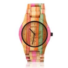 Dames de Mode De luxe Pleine Bambou Quartz Montre En Bois Naturel Femmes Horloge Coloré Relogio Feminino