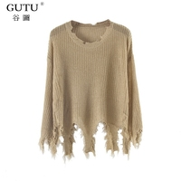 GUTU New Pattern Korean Autumn Round Neck Top Knitting Hollow Out Holes Long Sleeve Solid