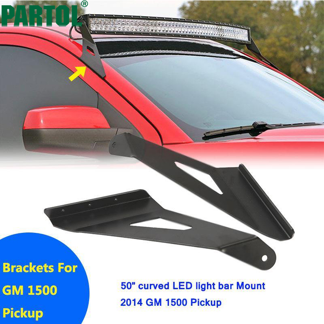 Partol upper windshield mount brackets 50 curved led work light bar partol upper windshield mount brackets 50 curved led work light bar car roof mounts kit aloadofball Image collections