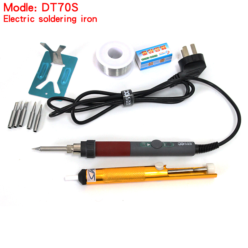 Hight quality CXG DT70S 220V 70W Ceramic heater Thermostat soldering iron,adjustable soldering iron Soldering station auto sleep все цены