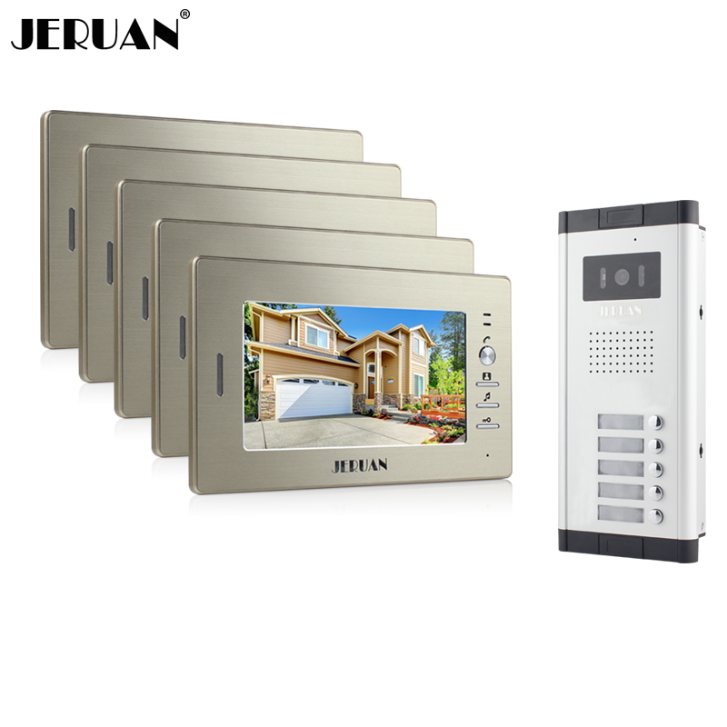 JERUAN Brand New Apartment Intercom System 5 Monitor Wired 7 Color Video Door Phone intercom System for In Stock FREE SHIPPING brand new wired 7 inch color video door phone intercom doorbell system 1 monitor 1 waterproof outdoor camera in stock free ship