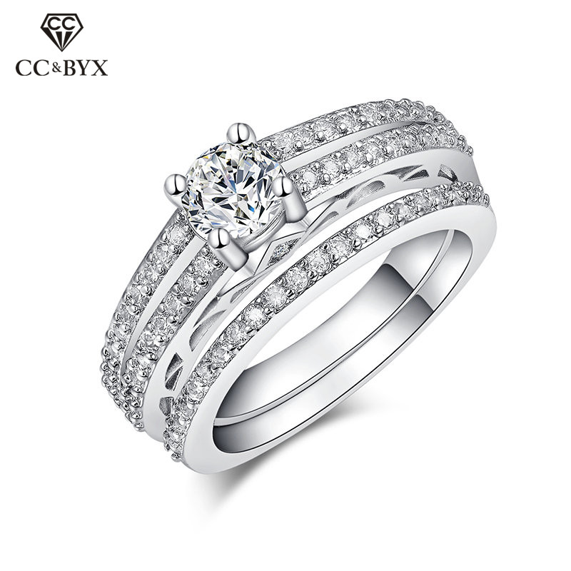 S925 Silver Rings For Women Cubic Zirconia Set Ring Bridal Wedding Engagement Bijoux Femme Accessories CC165(China)