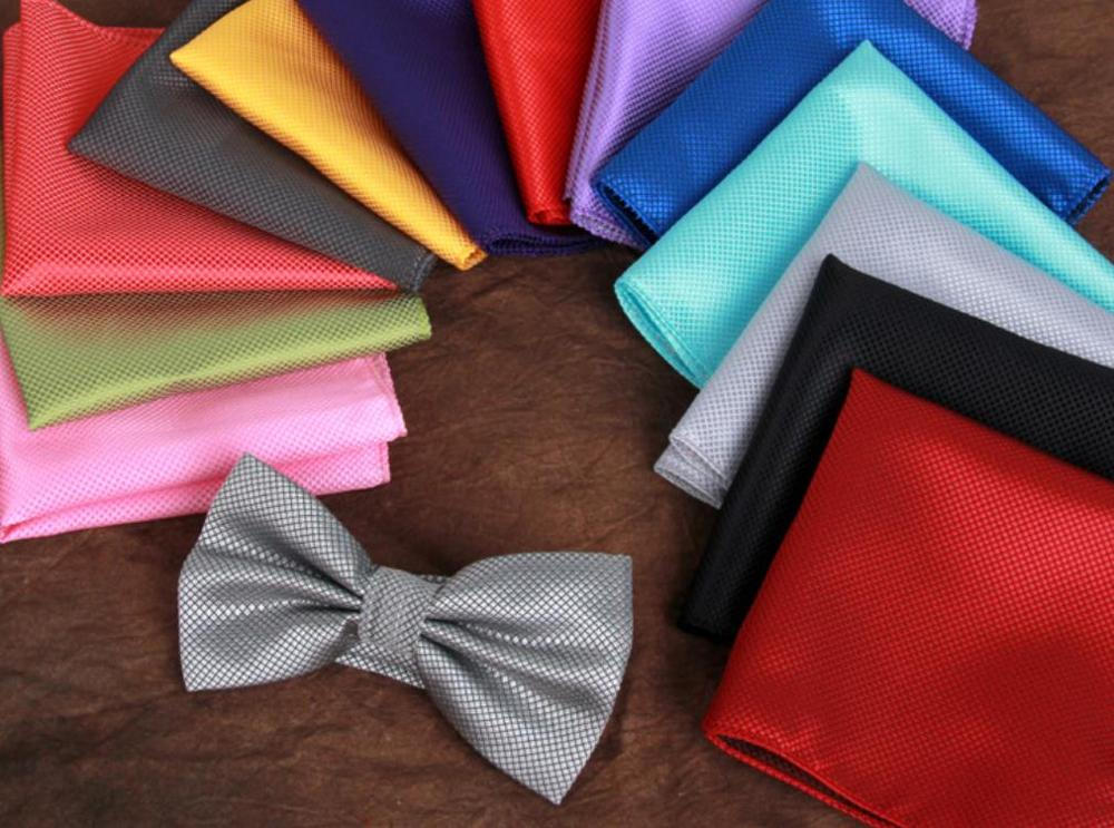 200sets lot new fashion men s adult small gride bowties and handkerchiefs sets