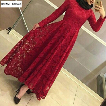 Red Lace Muslim Mother Of The Bride Dresses Long Sleeves Ankle-Length vestido de madrinha Middle East Women Dress For Wedding