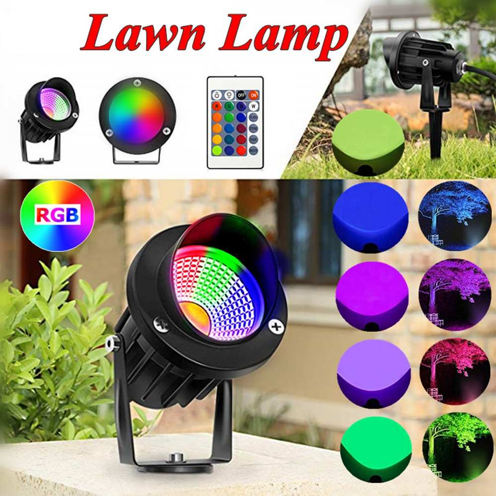 New Landscape Lights 10W Waterproof LED Garden Spotlights RGB COB Chip Outdoor Lawn Patio Pathway Spotlight AC85 265V/ AC/DC12V|LED Lawn Lamps| |  - title=