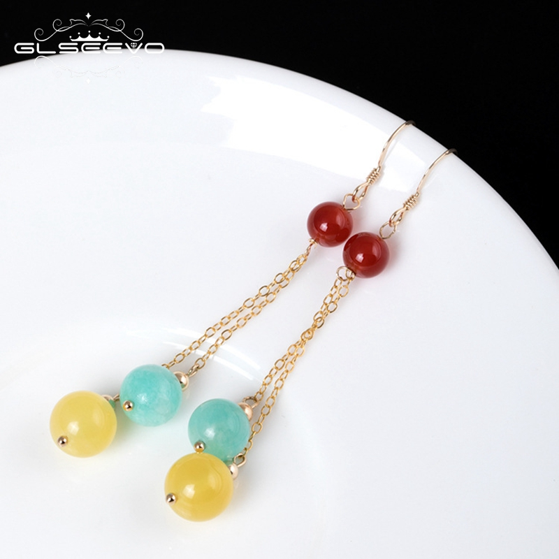 GLSEEVO14k Gold Plated Garnet Amazonite Stone Long Dangle Earrings Women Natural Ceromel Amber Colorful Earrings Jewelry GE0419 yoursfs dangle earrings with long chain austria crystal jewelry gift 18k rose gold plated