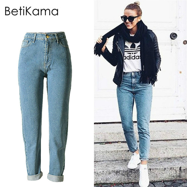 589ed05d263 BetiKama Vintage Boyfriend Jeans Femme 2017 Cotton Denim Jeans Woman Loose  Straight Trousers High Waist mom Jeans Plus Size