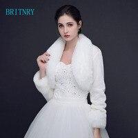 BRITNRY New Wedding Winter Bolero Women Faux Fur Shawl Elegant Ivory Cape One Size Fur Cape Real Photos Long Sleeve Bridal Wrap