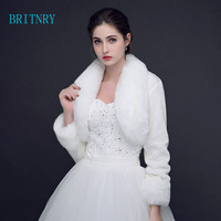BRITNRY New Wedding Winter Bolero Women Faux Fur Shawl Elegant Ivory Cape One Size Fur Cape Real Photos Long Sleeve Bridal Wrap