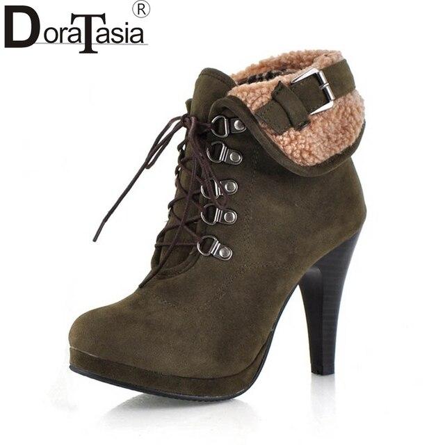 DORATASIA duży rozmiar 34-43 marka projekt zasznurować damskie buty kobieta retro buty na cienkich wysokich obcasach platformy kostki buty zimowe buty