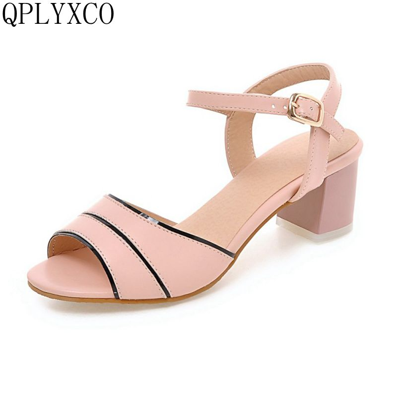 QPLYXCO 2017 Hot New Sale Big Size 32-45 Women Shoes Women Sandals High Heeled Square Heels Fashion Summer Shoes M80 qplyxco 2017 sale big