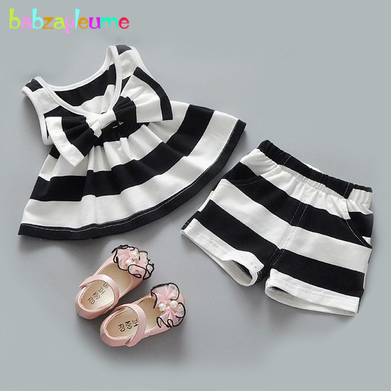 babzapleume Summer Baby Girls Boutique Outfits Stripe T shirt Shorts Costume For Kids Clothes Children Clothing