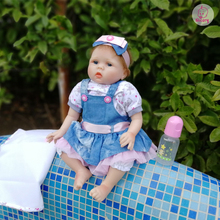 Nicery 20-22inch 50-55cm Bebe Reborn Baby Doll Soft Silicone Boy Girl Toy Reborn Doll Gift for Children Blue Dress Bady Doll
