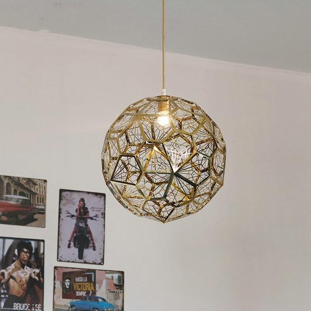 Post-Modern Loft Craft Cord LED E27 Pendant Light Hollow Stainless Steel Ball Pendant Lamp Fixture Cafe Bar Vintage Luminarias