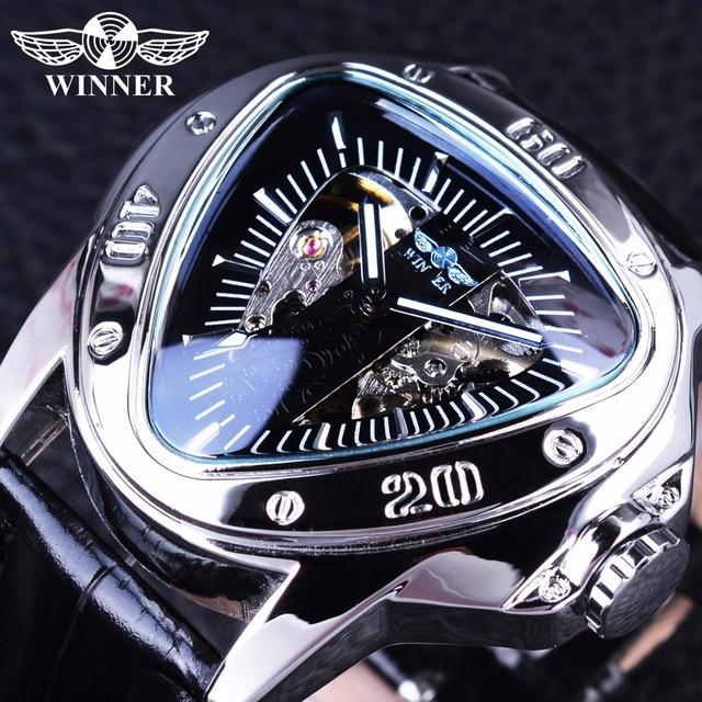 bef3b9070 الفائز الإبداعية سباق تصميم مثلث تصميم الفضة الهيكل العظمي الطلب الرجال  ووتش الأعلى العلامة التجارية الفاخرة