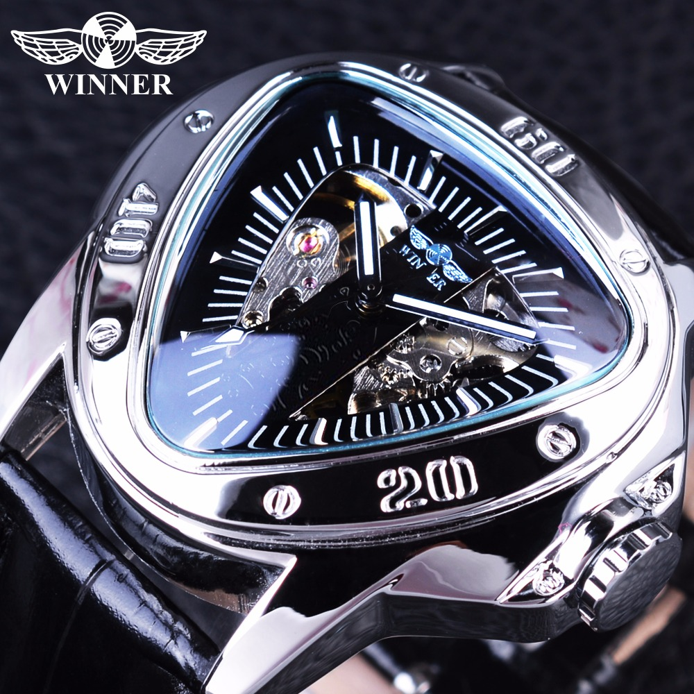 Winner Creative Racing Design Triangle Design Silver Skeleton Dial Mens Watch Top Brand Luxury Automatic Mechanical Watch Clock winner sport racing style rubber band mens watches top brand luxury automatic fashion watch mechanical clock men white dial
