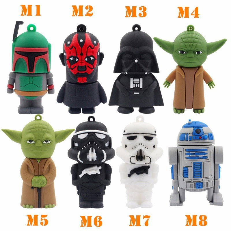 Enthusiastic Star Wars Darth Maul/black/white Vader R2d2 Robot Boba Yoda Usb Flash Drive/u Disk/creativo Pendrive/memory Stick/gift 4gb-32gb Online Discount Usb Flash Drives Computer & Office