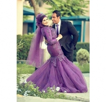 Turkish Dress Arabic Muslim Long Sleeves Mermaid Evening Dresses High Neck Hijab Lace Formal Gowns Vestido De Festa 2016 Purple