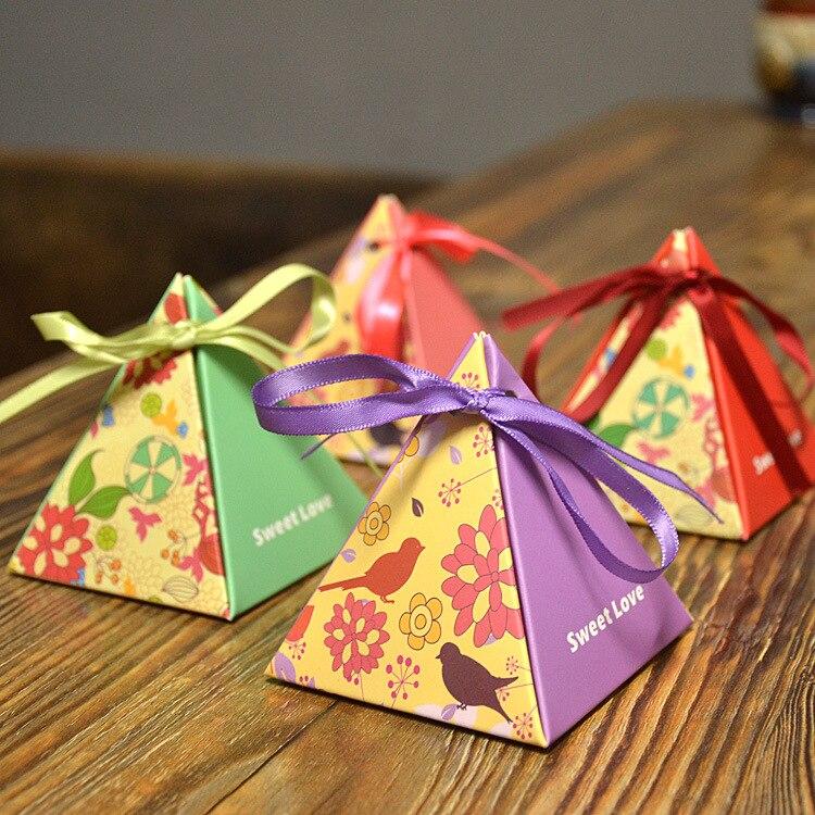9132c3491 10 جزء/الوحدة وازم الاحتفال الإبداعي الشريط الزفاف الزفاف مربع الحلوى هدية  حقيبة
