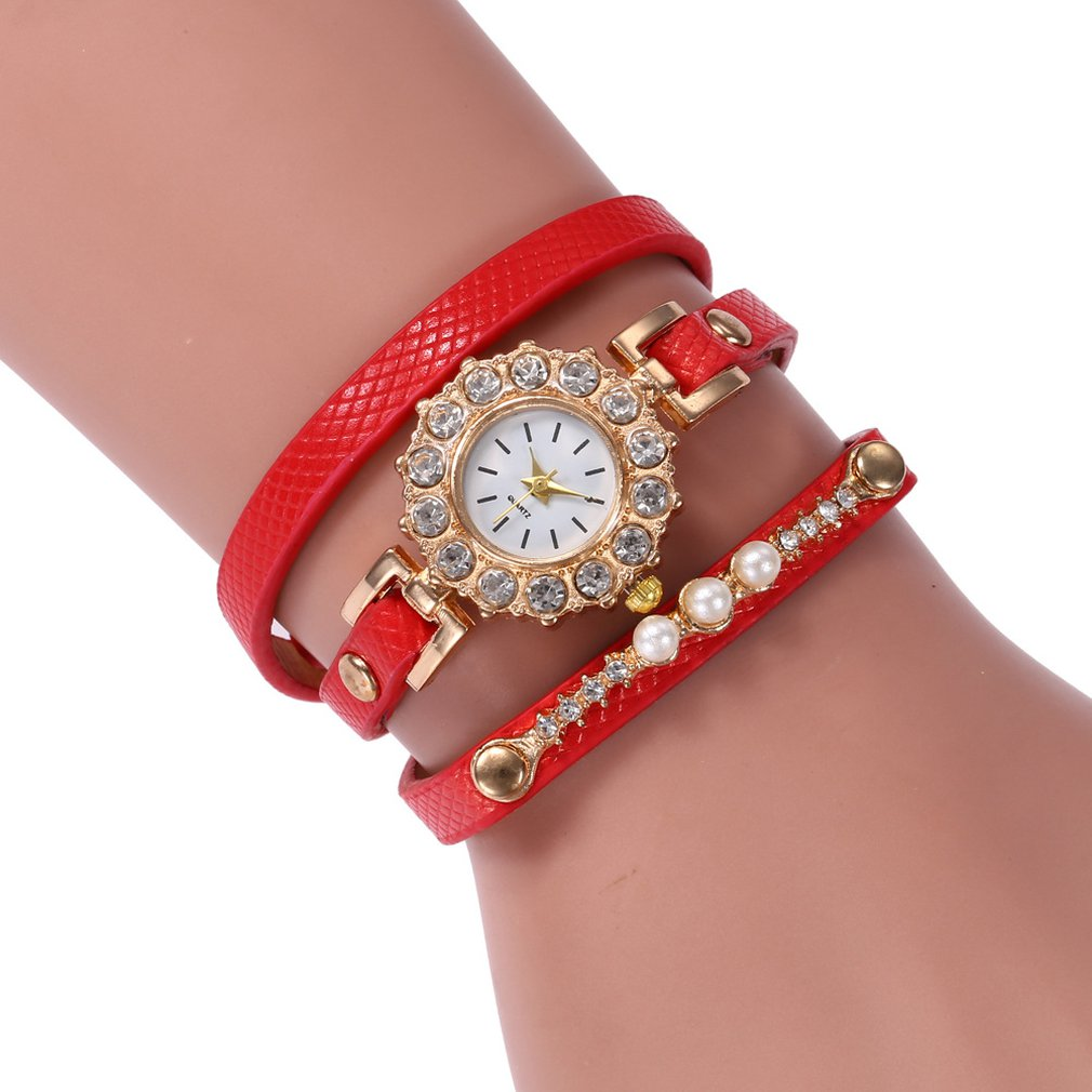 Luxury PU Leather Rhinestone Women Fashionable Bracelet Watch Fashion Round Dial Female Quartz Wrist Watches Best Gift
