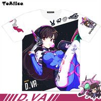 7 Types Brand Hot Game OW Cosplay Full Graphic T Shirts Dva Trace Genji Reaper Print