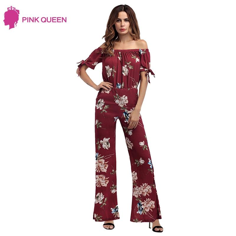d9908ea896f Pink Queen Women Off Shoulder Chiffon floral Bodysuit Ladies Lace Up Beach  Sexy Print Jumpsuit Summer