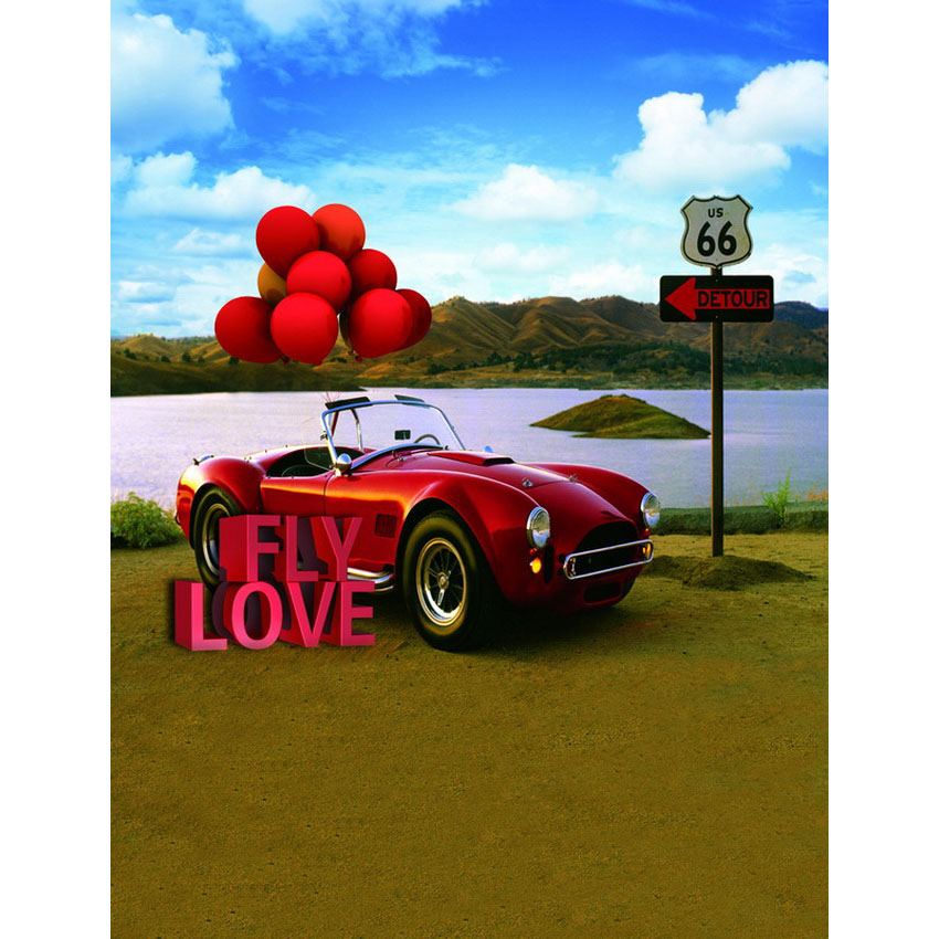 Lake scenery red balloons on car photography backdrops valentine photo background for photo studio backgrounds photophone S-2407 kidniu scenery photography backdrops trees lake photo props wallpaper winter snow vinyl background for studio 9x5ft win1403
