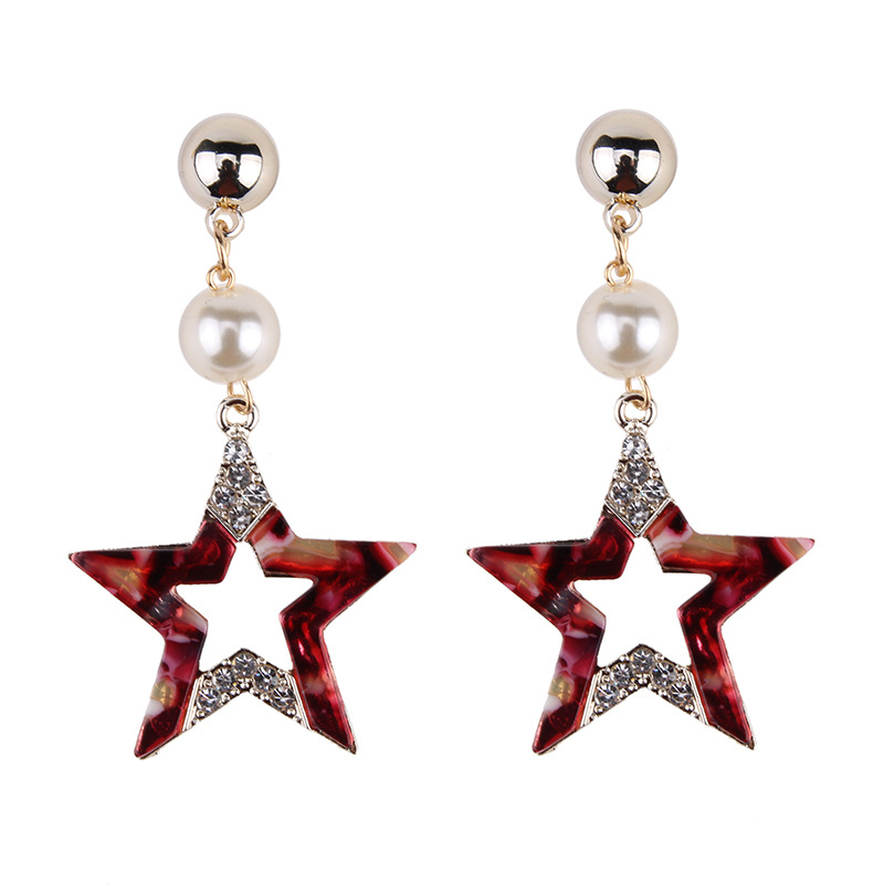 Fashion Geometric Star Simulated Pearl Dangle Earrings for Women Classic Jewelry Accessories Gift Brincos Bijoux Drop Earrings