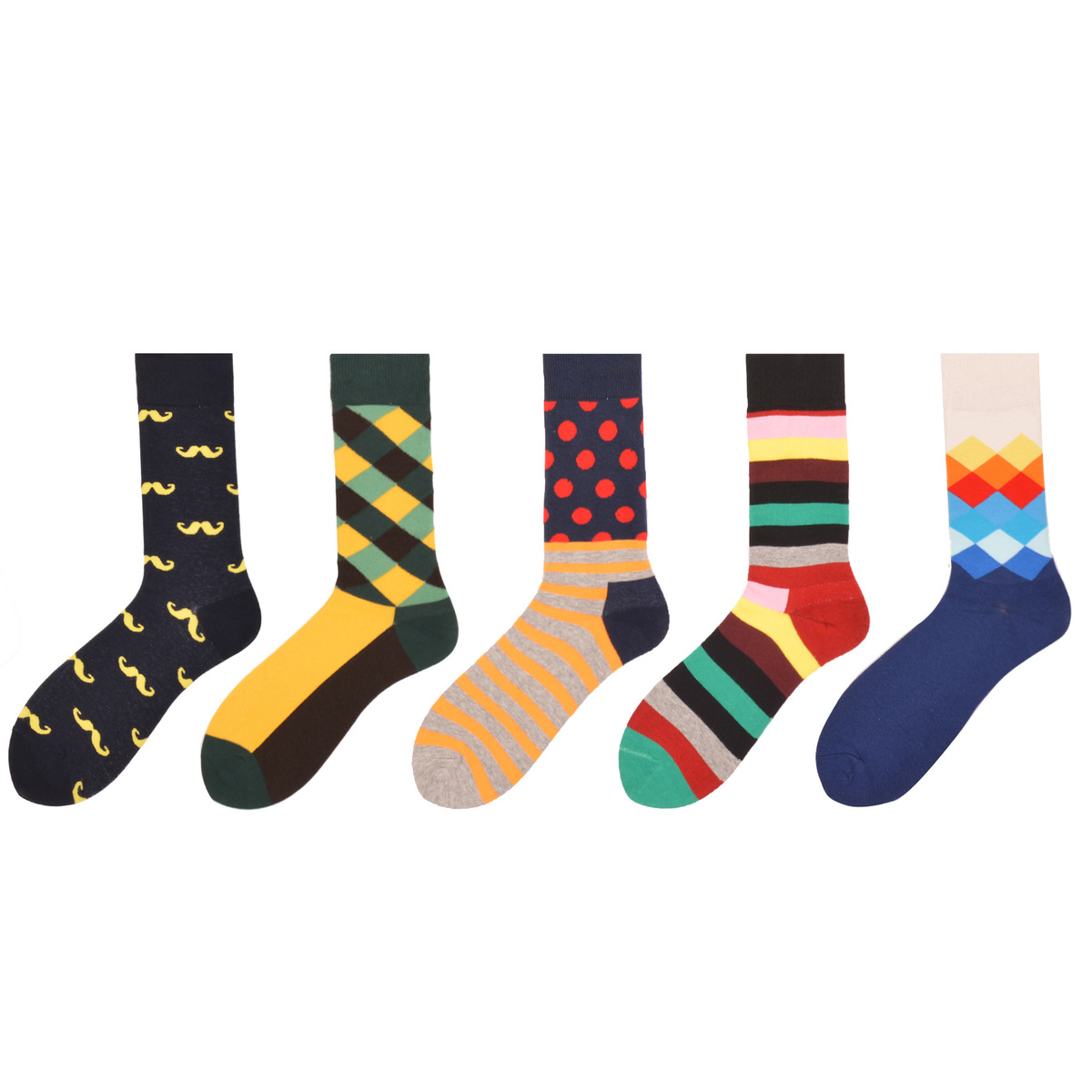 PEONFLY 5 Pairs/lot Funny Casual Chaussette Homme Crew Diamond Argyle Colorful Mens Dress Socks Combed Cotton Happy Socks