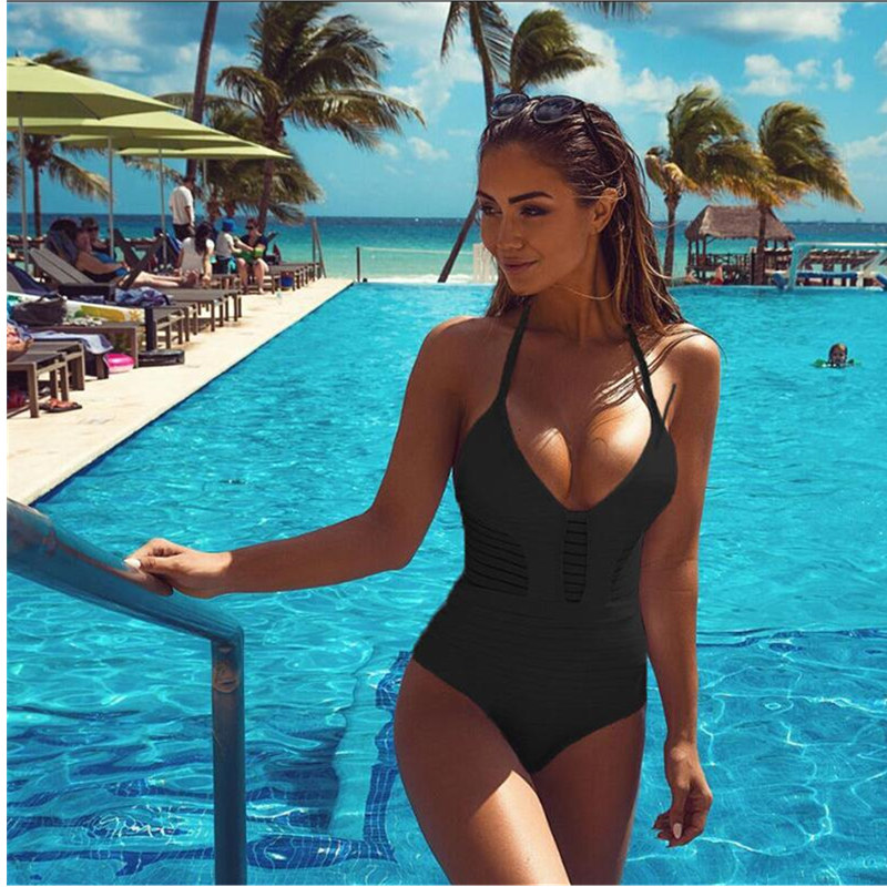 2019 Sexy Swimwear One Piece Swimsuit Women Backless Monokini Swimsuit Hollow out Bodysuit Solid color Beach Bathing Suit XXL in Body Suits from Sports Entertainment