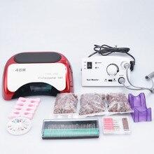 Маникюр с полировкой для ногтей и 48 Вт лампа инструменты для ногтей сушилка для Гель-лак для ногтей набор фитинга инструменты для ногтей