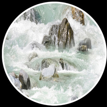 Custom Mural Paintings PVC Wallpaper  Mountain And Flowing Water