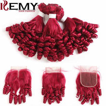 99J/Burgundy Red Color Human Hair Bundles With Closure Funmi Curly Brazilian Hair weave Bundles NonRemy Hair Extension KEMY HAIR(China)