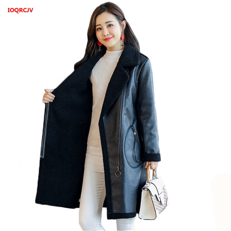 63b7639ea79 Detail Feedback Questions about Plus Size Women s Autumn Winter Lamb  Cashmere PU Leather Jackets Long Large Size Thick Lambskin Cardigan  Outerwear Female ...