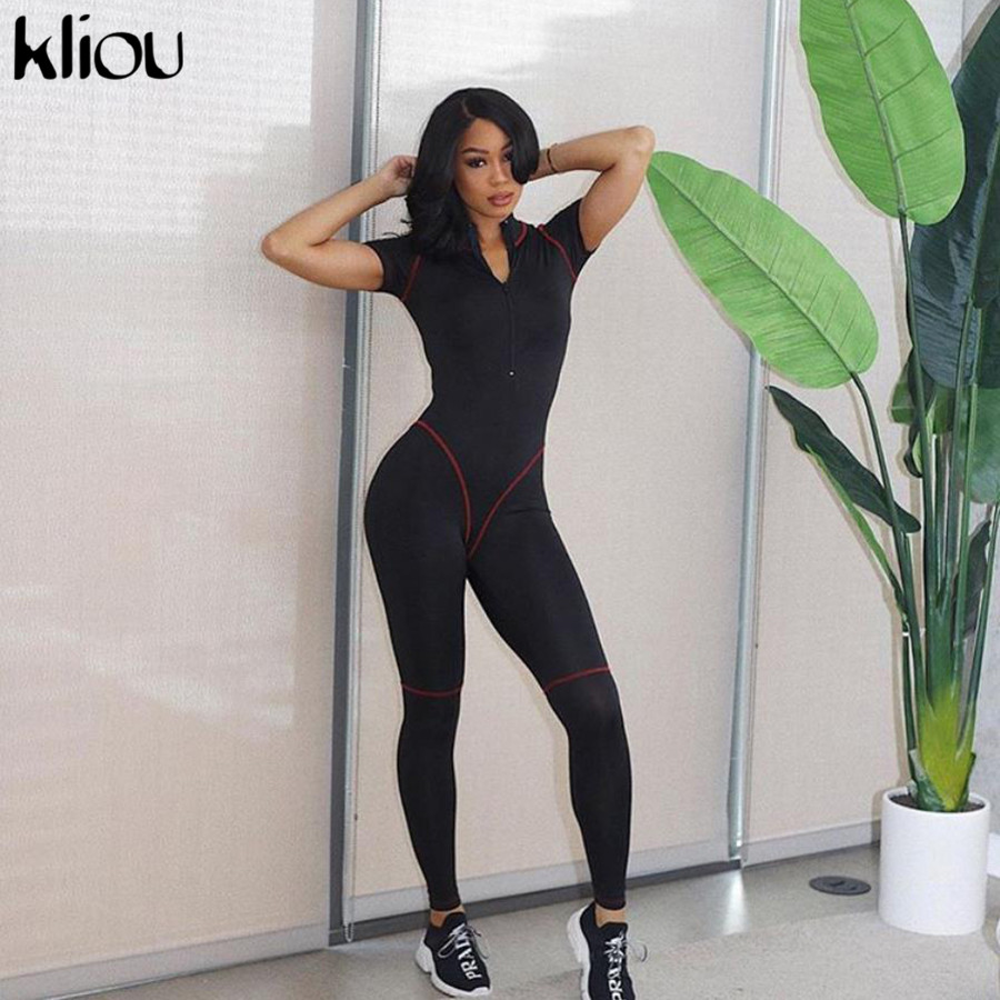 Kliou women casual   jumpsuit   short sleeve turtleneck zipper fly bodysuit 2019 female fashion skinny fitness long rompers   jumpsuit