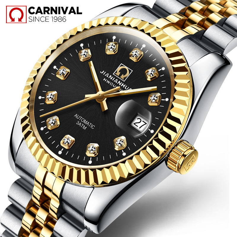 цена на TopBrand CARNIVAL Automatic Mechanical Men Watch Luxury Business Casual Men's Steel Wristwatch Diamond Gold Plating Montre Homme