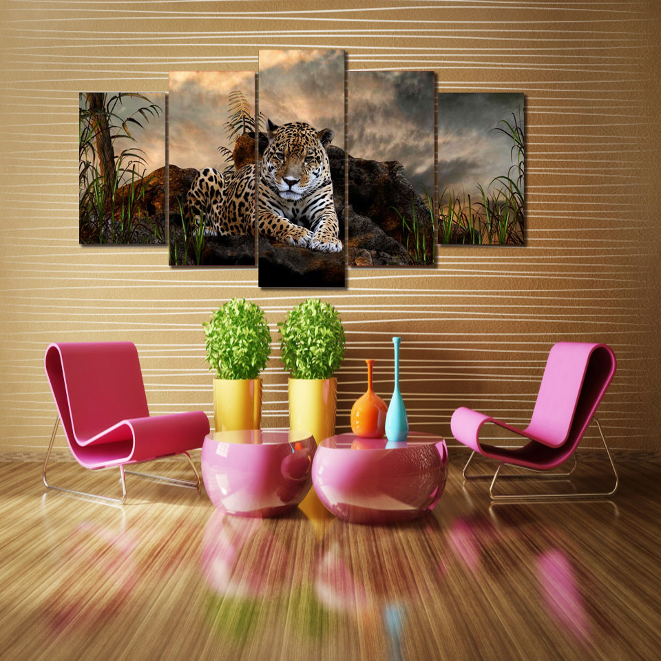 Leopard Bedroom Ideas For Painting: HD Printed Animal Leopard Painting Canvas Print Room Decor