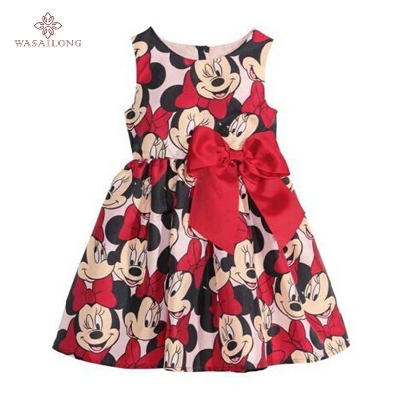 Wasailong New summer dress Minnie Mouse Dress girls clothes printing dot sleeveless dress dress girl fashion