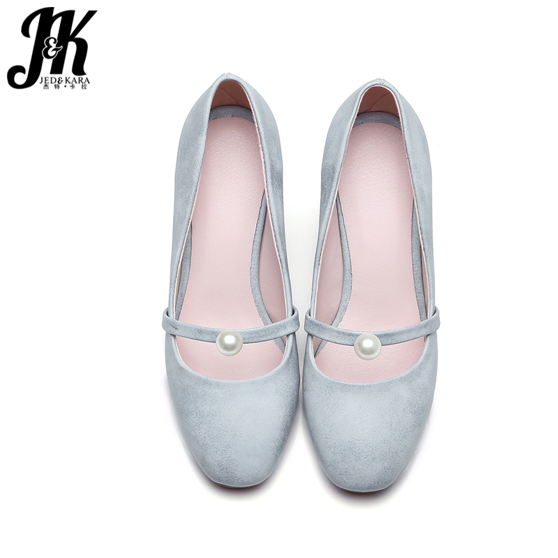 ФОТО J&K Big Size 32-42 New Shallow Bead Slip On Women Pumps Square Toe Thick High Heels Pumps 2017 Spring Summer Sweet Shoes Woman