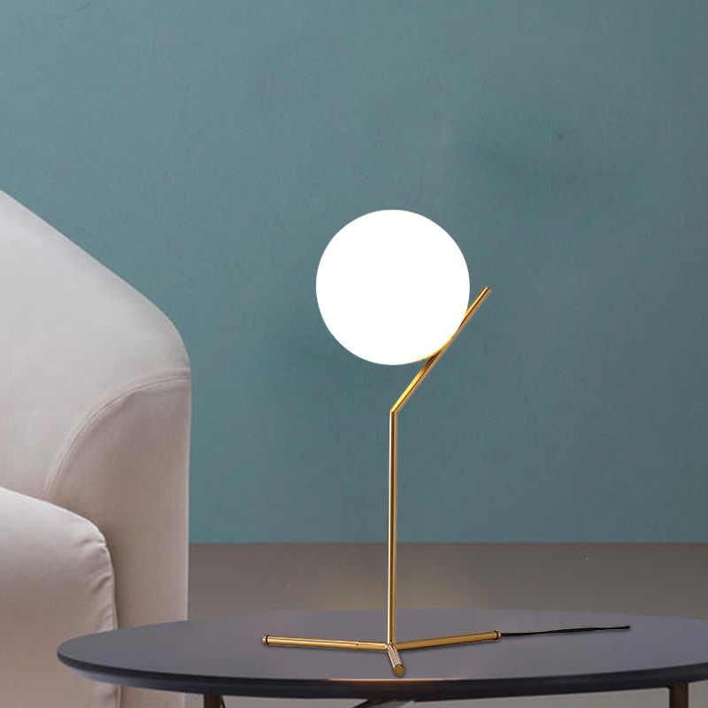 Современный золотой стеклянный шар настольные лампы Настольная лампа для спальни гостиной прикроватная лампа для пола