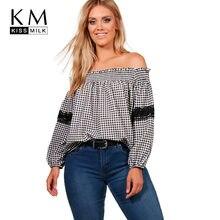 7df4700d510cb Kissmilk 2018 Plus Size Patchwork Plaid Lace Women Blouses Large Size  Off-shoulder Female Shirts Big Size Sexy Lady Tops 3XL-7XL