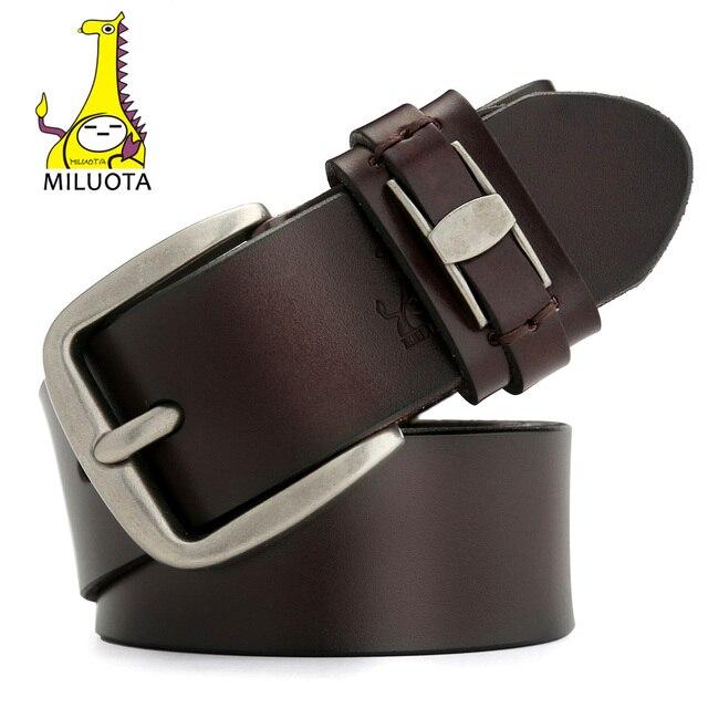 2016 Cowhide Genuine Leather Belts for Men Distressed Wide Strap Male Pin Buckle Belt Brand Luxury Man MU021