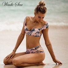 Wade Sea 2018 Sexy Bikini Retro Tropical Palm Leaf Floral Swimsuit Off Shoulder Push Up Bikini Set Bathing Suit Swimwear Women