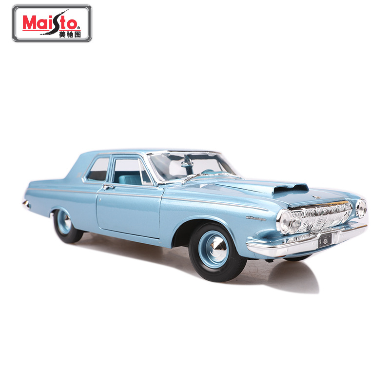 Maisto 1:18 Scale Diecast Model Car Toy For 1963 Dodge 330 Retro Muscle Car With Original Box For Man Collection Gift image
