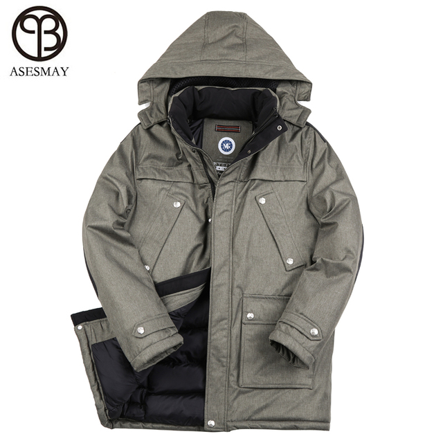 258c08188ae Asesmay 2018 Top Quality Warm Men s Warm Winter Jacket Windproof Casual  Outerwear Thick Medium Long Hood Coat Men Winter Parka