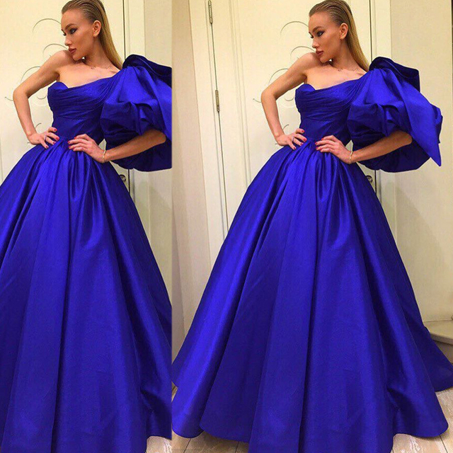 64c3ebb7f3a 2017 Royal Blue Satin A line Prom Dresses with Puffy Ruffle Short Sleeves  One Shoulder Designer Evening Dresses Floor Length
