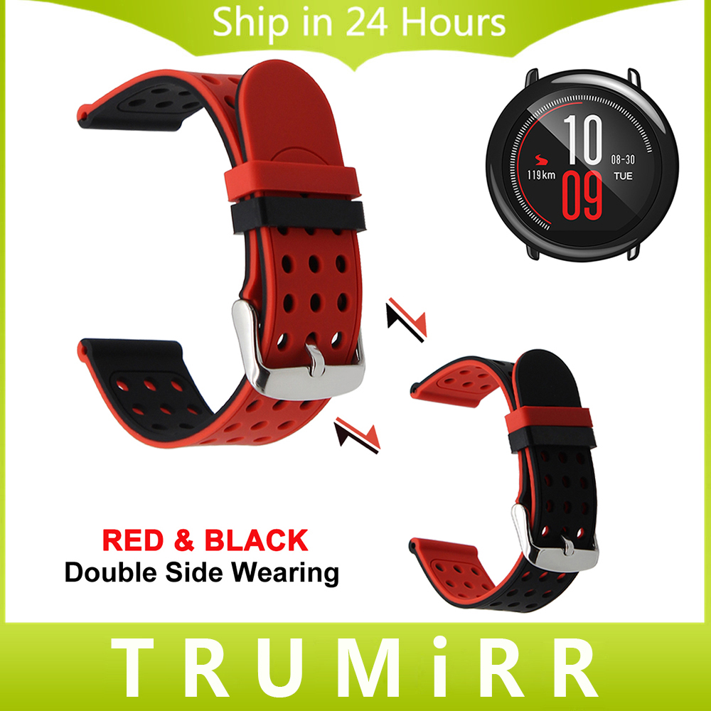 где купить 22mm Silicone Rubber Watchband Double Side Wearing Strap for Amazfit Huami Xiaomi Smart Watch Band Wrist Belt Bracelet Black Red по лучшей цене