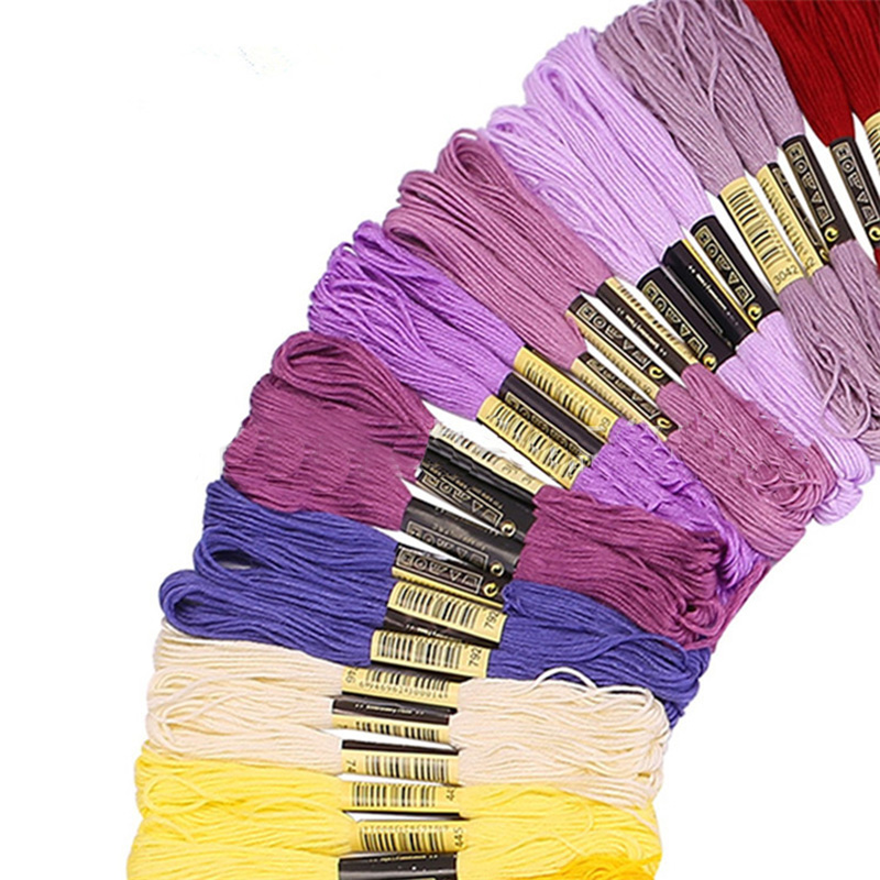 50 pcs Random Color embroidery DIY Silk Line Branch Threads Similar Dmc Thread Floss Skein Cross Stitch Thread 6
