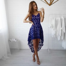 Summer New Women Casual Sexy Lace Hollow Dovetail Irregular Dress Strap Deep V-neck Bohemian Beach Party Club Dresses